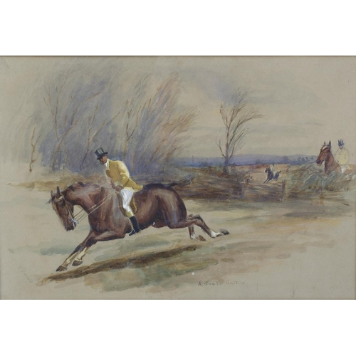 733 - A framed and glazed watercolour, fox hunting group, titled 'A Good Gallop', signed. <br>Colour faded...