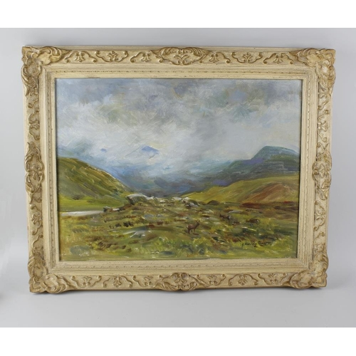 734 - John Murray Thomson (1885-1974) oil painting on canvas, highland scene with deer to the fore, signed...