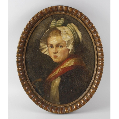 735 - English school a late 19th century oil painting on canvas, oval head and shoulder portrait depicting...