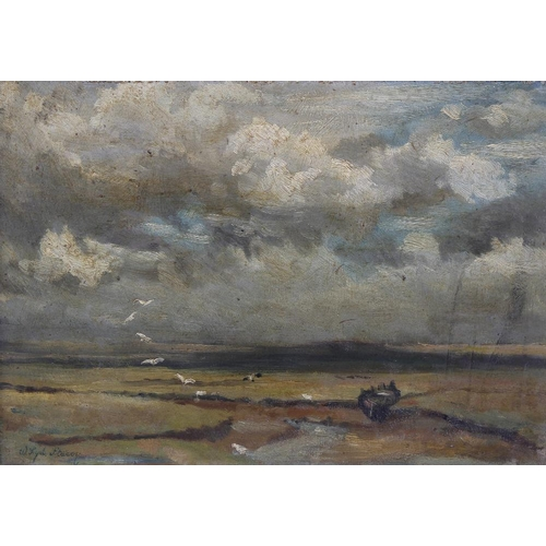 736 - Walter Sydney Stacey (1846-1929) oil painting on board, titled verso 'Across The Marshes', signed, 9...