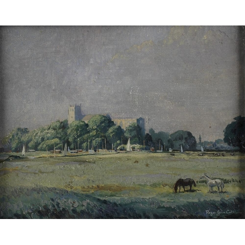 737 - Roger John Collins oil on board, an extensive rural landscape with view of a grand Broadland Church,...