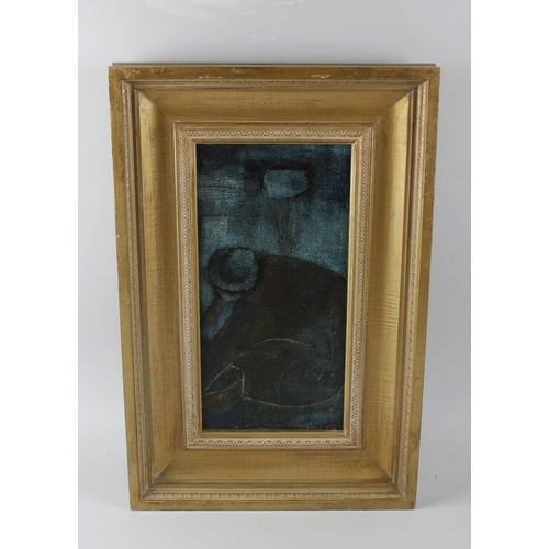 738 - British school (mid to late 20th century) oil painting on board, figural study, 15.5 x 7.5 (38.25cm ...