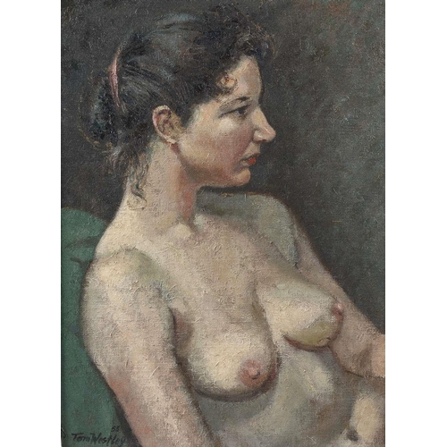740 - Tom Westley (20th century), oil on board, half length portrait study of a nude female, 15.5 x 11 (39...