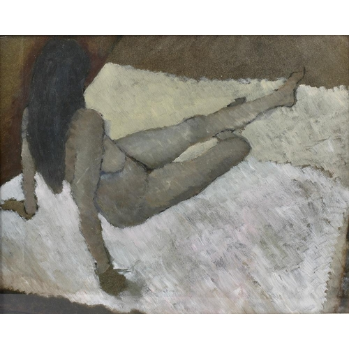 741 - British school, a framed and glazed gouache, full length portrait study of nude female, 13 x 16.25 (...