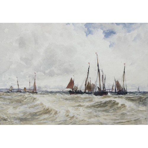 742 - Thomas Bush Hardy (1842-1897), watercolour, Brixham trawlers at anchor in Torbay harbour, signed and...