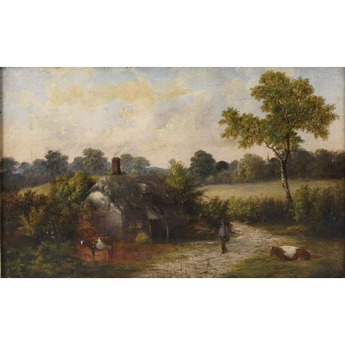 743 - 19th century English school oil on canvas, rural scene with solitary figure and cattle before a that...