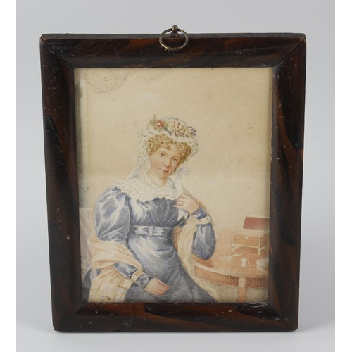 744 - 19th century English school, a framed and glazed water watercolour, three quarter length portrait st...