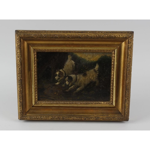 745 - 19th century English school, an oil painting on board, study of two terriers, 4 1/2 x 7 (11.5cm x 16...