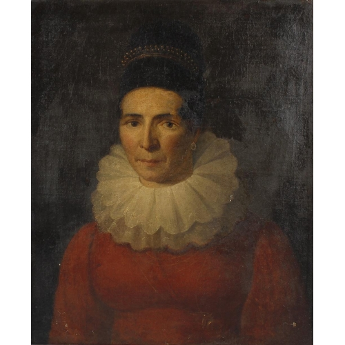 746 - Early 19th century continental school oil on canvas, half length portrait study, lady in red dress w...