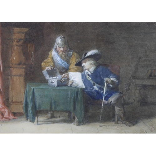 747 - Attributed to George Cattermole, (1800-1868)WatercolourInterior scene with two gentleman consulting ...