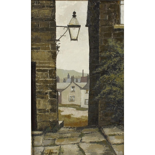 749 - Vera Lowe, (20th century)Alleyway, Haworth IIIOil on boardSigned lower left13.25 x 8 (33.5cm x 20.5c...