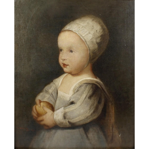 750 - English School, (late 19th century)Portrait of a young childOil on canvas laid on boardIndistinctly ...