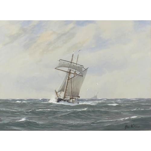 751 - George Stanfield Walters, (1838-1924)Watercolour heightened with whiteSailing boats at sea13.5 x 19 ...