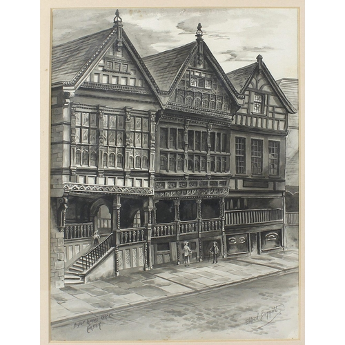 752 - A grey wash watercolour depicting Bishop Lloyds Palace Chester, signed lower right Eldred Bennett, 1...