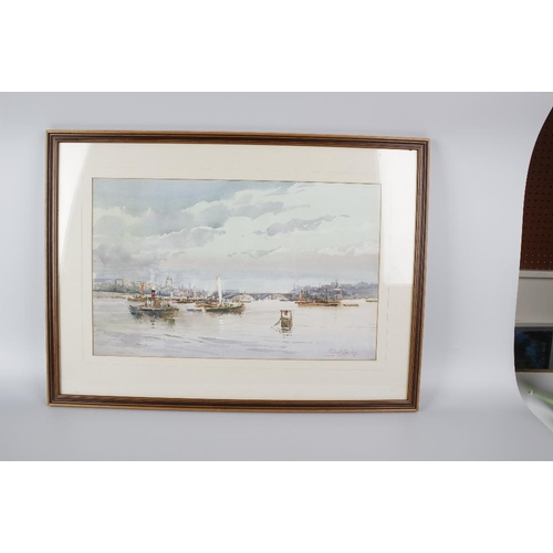 753 - Michael Crawley (modern)Two framed and glazed watercoloursEach titled Verso 'River Thames, St Pauls'...