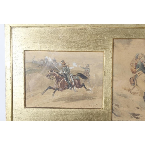 754 - 19th Century Continental SchoolA single framed and glazed set of three watercolours Military studies...