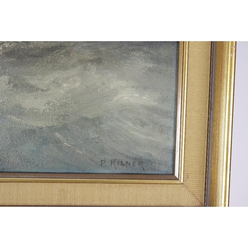 756 - P Kilner (20th century)Last moments of the BismarckOil painting on canvas Signed 20 x 30 (50.75cm x ...