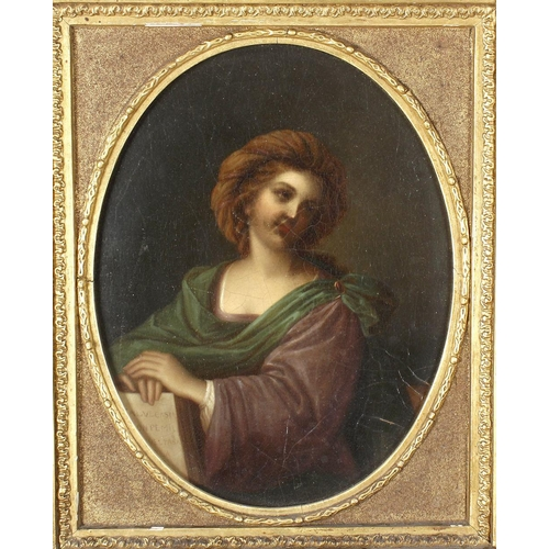 757 - 19th Century Italian SchoolOval half length portrait study depicting a classical femaleOil painting ...