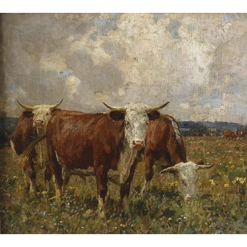 762 - An oil on canvas boardGrazing cattle in a meadowIndistinctly signed lower left15.75 x 17.25 (40cm x ...