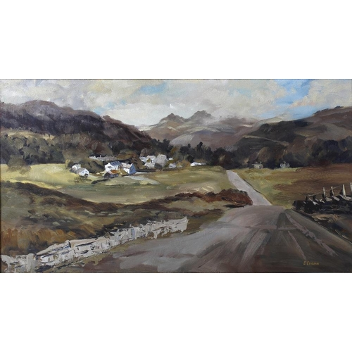 764 - An oil on board Langdale PikesLandscape scene Signed to lower right E Evans 14.5 x 25 (37cm x 63.5cm...