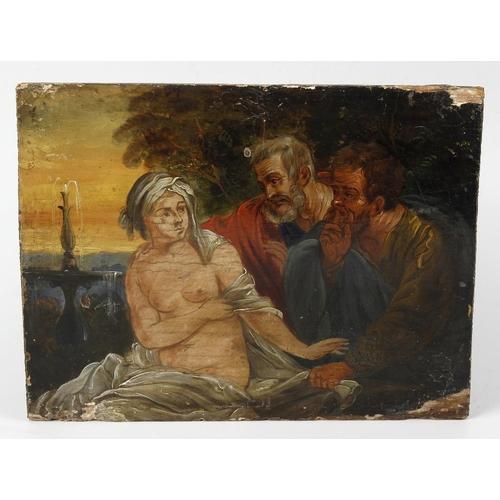 766 - An 18th century oil on boardContinental SchoolThree figures include a female nude in a garden settin...