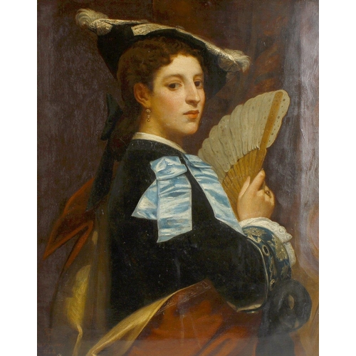 769 - William Frederick Yeames (1835-1918)Portrait of a young woman Oil on canvas Signed, monogrammed and ...
