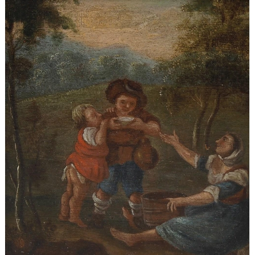 773 - Manner of Bruegel, a Dutch 18th century oil on panel, depicting a group of three figures eating unde...