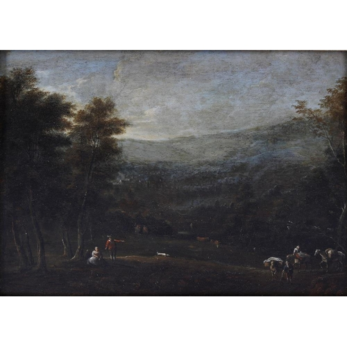 774 - 19th century Dutch school oil on panel, extensive landscape with figures and horses to the fore, see...