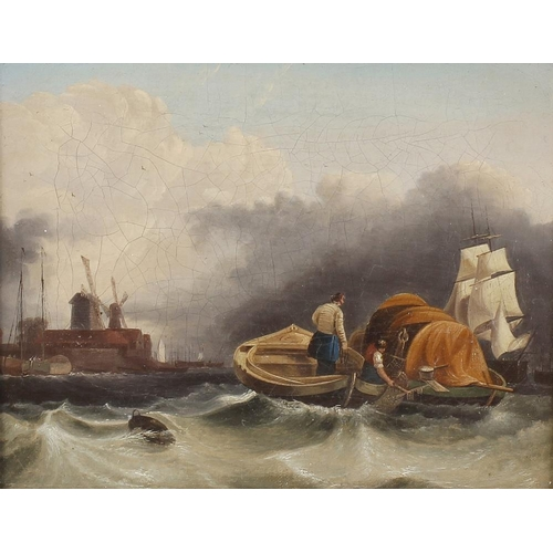 775 - 19th century Dutch school, a pair of oil paintings on canvas, shipping scenes with sailing vessels u...
