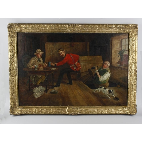 777 - George Fox (1876-1916) oil on canvas, tavern interior scene 'A Military Disaster', signed 20 x 30 (5...