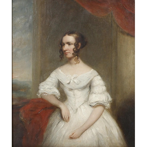 780 - 19th Century English School Half length portrait studyOil on boardTitled verso 'Mrs Brock'13 x 11 (3...