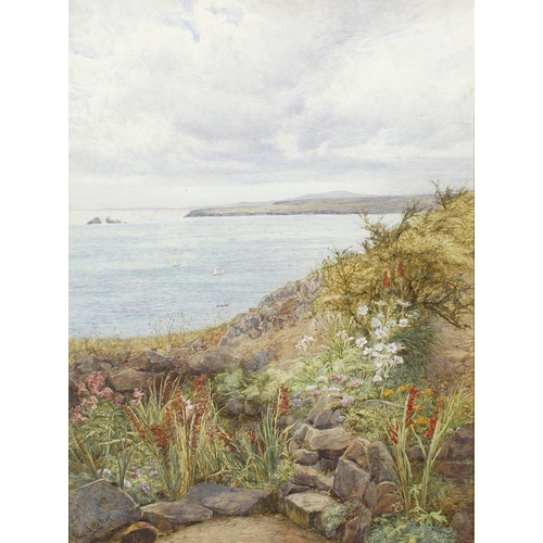 782 - Frank Walton, RI, ROI, (1840-1928), St. Ives Bay Cornwall, Godrevy Lighthouse WatercolourSigned lowe...