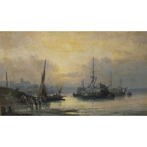 783 - William Thornley (1857-1935) A pair of oil paintingsCoastal scenesFishing boats at dawn and dusk, wi...