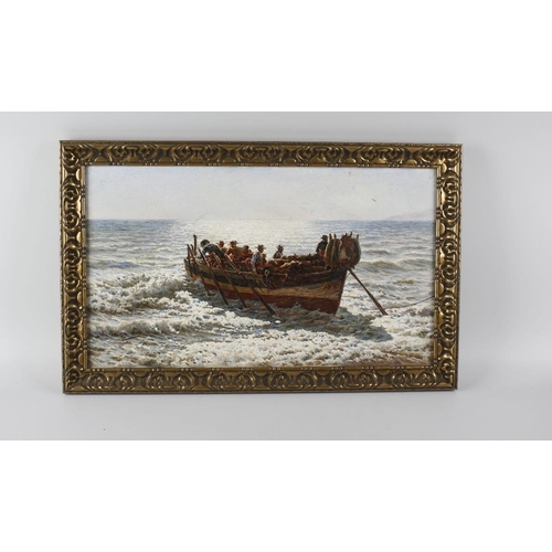 784 - Emilio Millan Ferriz (1859-)Fishing boat Oil on canvasSigned lower left12 x 21.25 (30.5cm x 54cm)Fra...