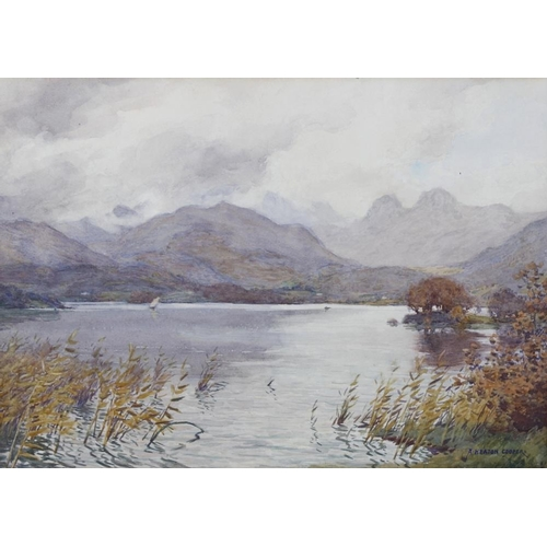 785 - Alfred Heaton Copper (1864-1929)Langdale Pikes from WindermereWatercolourSigned lower right10.5 x 14...