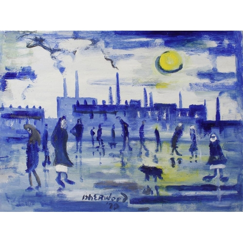 786 - ARR James Lawrence Isherwood, (1917-1988)'Wigan Blue People' acrylic on artist's board, signed and d...