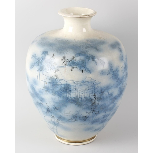 79 - A large Japanese Satsuma pottery vase of baluster form, the white glazed ground decorated in blue wi...