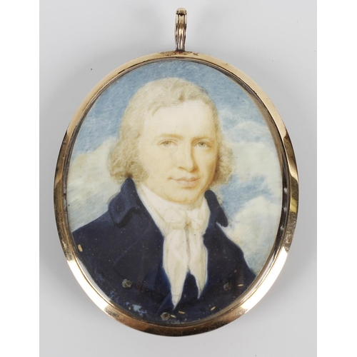 790 - An oval painted portrait miniature on ivory, depicting a head and shoulder study of a gentleman in d...