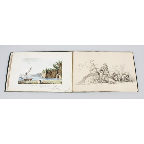 791 - A 19th century sketchbook containing numerous watercolour and pencil studies, depicting various land...