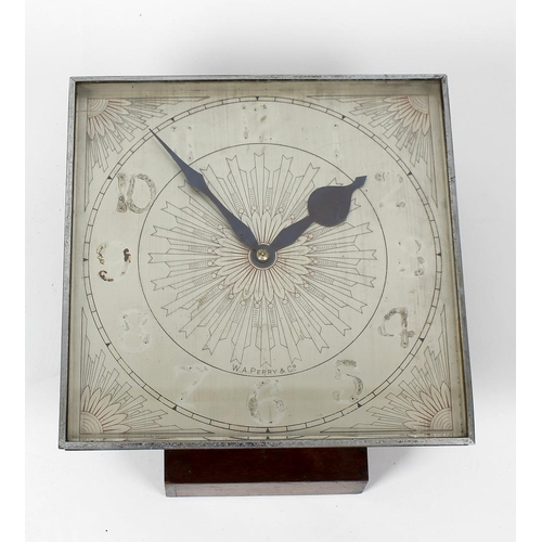 798 - A W.A. Perry, English single fusee wall clock, the silvered face and dial originally fitted with Ara...