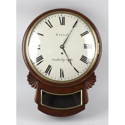 800 - A good second quarter 19th century single fusee wall clock. The 12-inch white -painted convex Roman ...