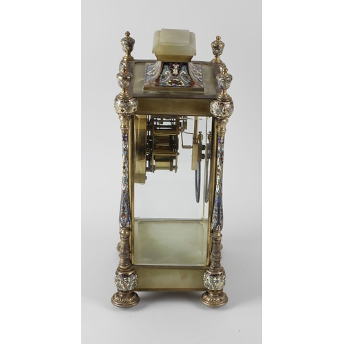 806 - A 19th century French cloisonne enamel and green onyx mantel clock, the 4.25-inch gilt chapter ring ...