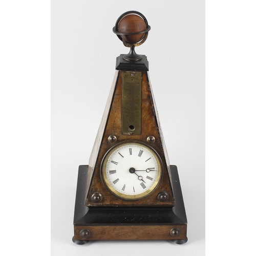 811 - A late 19th century French walnut mantel clock, the 3-inch white-enamelled Roman dial with Breguet h...