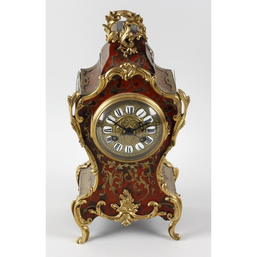 812 - A late 19th century French red boulle mantel clock A. D. Mougin, Paris, circa 1890. The 3.5-inch dia...