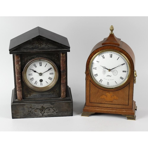 813 - Two mantel clocks, the first a reproduction example by Comitti, with white Roman dial , the single-t...