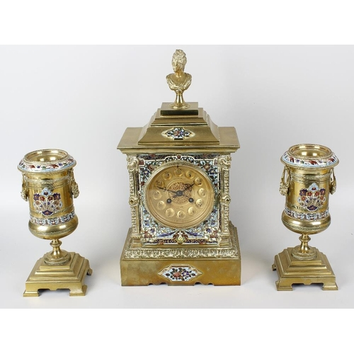 815 - A late 19th century French brass and champleve enamel mantel clock garniture, the clock by Japy Frer...