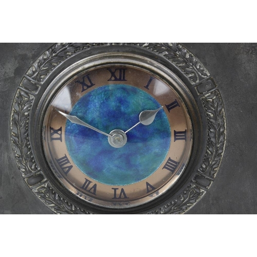 816 - A Liberty & Co Tudric pewter and enamel mantel clock, model No. 01155, the 3.5-inch circular dial en...