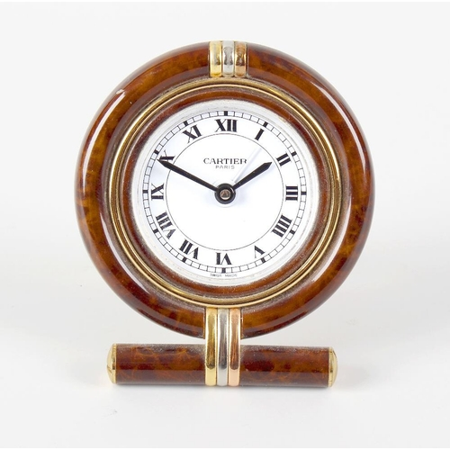 819 - A Cartier desk timepiece, the 1.75-inch white enamel dial having Roman numerals and marked Cartier P...