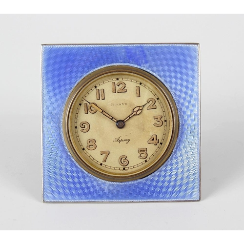 820 - A 1920's Asprey silver and enamel desk clock, the 2-inch dial having Arabic minutes and marked 8-day...