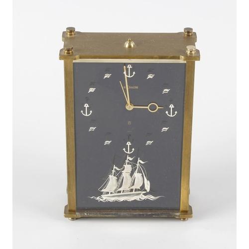 821 - A Jaeger LeCoultre 'Marina' musical alarm clock. Model 2173, circa 1960s, the black rectangular fron...